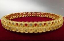 14K 9K Yellow Gold GF Lab diamond Filigree Tennis Solid Bangle Bracelet