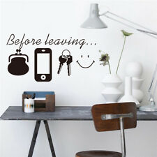 """"""" Before Leaving """" Warning Wall Stickers Home Wall Art Stickers Room Door Decor"""