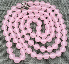 Beautiful 8mm Pink Jade Round Gemstone Beads Necklace 36'' AAA