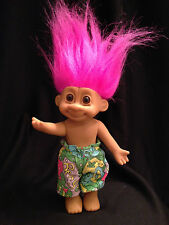 "Vintage Troll Doll Boy Swimming Trunks Poseable7"" Pink Hair Collectible Toy Rare"