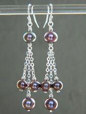 Peacock Pewter Aubergine Freshwater Pearls & 925 Sterling Silver Drop Earrings