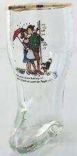 VINTAGE GERMAN GLASS BOOT SHOT BEER MINIATURE TANKARD KISSING LOVERS DESIGN