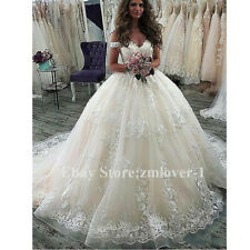 Schulterfrei Spitze Ärmellos Brautkleider Ballkleid Prinzessin Hochzeitskleider