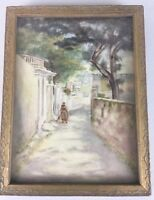 Vintage Watercolor Painting Old World City Town Villager Landscape Trees Framed
