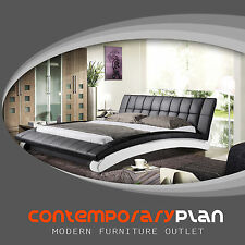 Chobham SL Contemporary Leather Platform Bed Black and White Modern