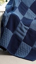"""44/"""" x 58/"""" TEXTURED ARAN AFGHAN//BLANKET//THROW WITH LATTICE CABLE PANELS  APPROX"""