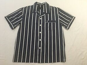 Trent Nathan Pajama Top Navy Blue 100% Cotton With Stripes Size L