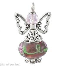 1 Bijoux Pendentif Breloque Ailes Ange Violet foncé Perles Fait Main 2.8x1.8cm