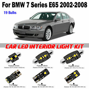 19pcs White Super Deluxe LED Interior Light Kit For BMW 7 Series E65 2002-2008