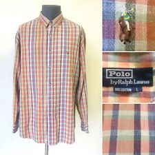 Vintage 1990s Ralph Lauren Polo Shirt Blue Red Checked Cotton Casual Size Large