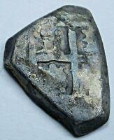 1600's Colombia Nuevo Reino Rare Silver 1/2 Reales Shipwreck Spanish Cob Coin