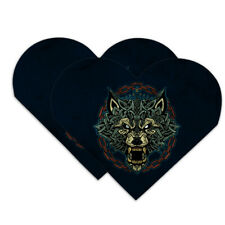 Fenrir Wolf In Chains Norse Mythology Heart Faux Leather Bookmark Set