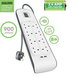 Belkin 8 Way 2m Surge Protection Strip with 2 x 2.4Amp Shared USB Charging UK
