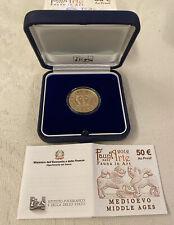 """Moneta oro 50 Euro 2012  """"Flora e Fauna nell'Arte"""" M gotica Proof AU Gold RARA"""
