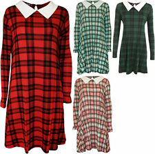 Plus Size Collared Long Sleeve Tunic Dresses for Women