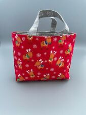 Small Christmas reindeer lined tote bag ideal gift for children/ Stocking filler