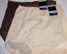 2 Bali Panty Skimp Skamp 2633 Brief Nylon Solid Brown Ivory Back Seam 8 XL NWT