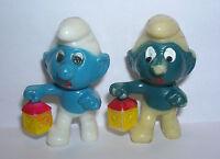 NACHTWÄCHTER SCHLUMPF Variante dunkelblau besprüht E.D.D.S. Schlümpf 1981 ORIG