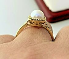 Cultured Freshwater Pearl Ring 14K Yellow Gold Sz 7