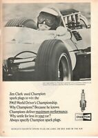 1965 Advertising' Vintage Candle Champion Pilots Jim Clark Lotus Coventry Climax