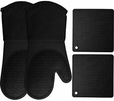 New ListingHomwe Silicone Oven Mitts and Pot Holders, 4-Piece Set, Heavy Duty Cooking Glove