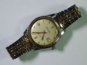 Vintage Men's Bulova Oceanographer 333 Automatic 10K & Stainless Watch Running