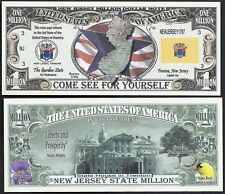 Lot of 100 Bills- New Jersey State Million Dollar w Map, Seal, Flag, Capitol