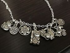 "Chinese Lucky Coins 7-Random Mix B Charm Tibetan Silver 18"" Necklace"