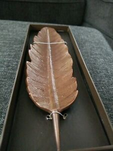 Fine Feather Decorative Tray Two's Company Copper Color Detailed