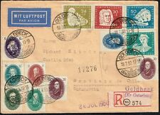 2950 GERMANY SOVIET ZONE TO CHILE REGISTERED AIR MAIL COVER 1950 GOLDBECK