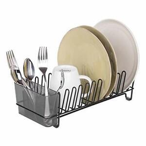 mDesign égouttoir vaisselle en inox – bac à vaisselle en plastique – étendoir...