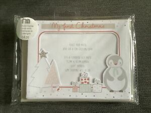 """Mothercare 8 Photo Frame Cards With Envelopes 2 Designs """"My First Christmas"""""""