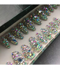 Hand Painted False Nails Full Diamante Bling Stiletto Press On Nails Set Of 24