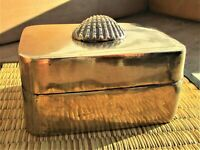 Vintage Brass Trinket Box With Brass Seashell On Top-India