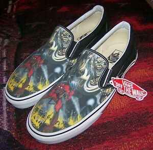 NEW Vintage IRON MAIDEN THE NUMBER OF THE BEAST Vans Slip On Skateboard Shoes 11