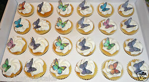 70 Mini Gorgeous Assorted Mini Edible Wafer Butterfly Cupcake & Cake Toppers