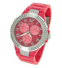 New Authentic GUESS Women Pink Plastic Strap Crystal Watch U11622L6 new with Tag
