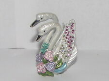 White Swan Card Holder Enamel Swarovski Crystal Trinket
