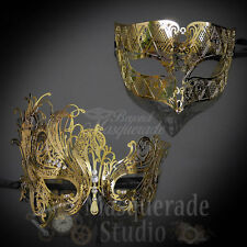 His & Her's Couples Gold Simplistic and Swan Matching Masquerade Mask Set