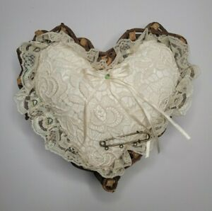 Heart Shaped Woven Wood Basket with Ring Barer Pillow in Ivory Lace for Wedding