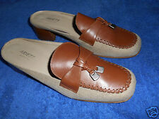 ARIETE CLOTH AND LEATHER SLIDES MULE SHOES  SIZE  9.5 M  NICE FROM ITALY.!