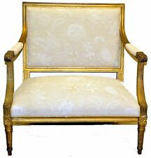 Gorgeous  19th c. French Provincial Bench with Original Gilding, New Upholstery