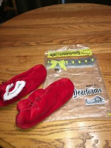 Vintage Dearfoams Booties Slippers Red Faux Fur Trim Fluffy Small 5-6