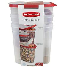 Rubbermaid 3 Pack Cereal Keeper. 1.5 Gal. RED BPA Free. Dishwasher Safe