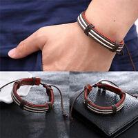 Männliche Mode Armband fünf Wachs Seile handgefertigt braun Lederarmband_BC