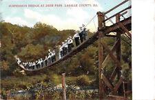 LaSalle Co Illinois~Crowd of Men on Deer Park Suspension Bridge~1910 Postcard