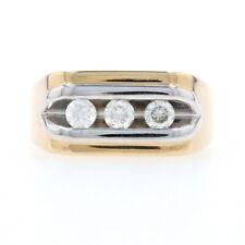 Yellow Gold Diamond Men's Three-Stone Ring - 14k Round Brilliant Cut .51ctw