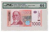 SERBIA banknote 1000 Dinara 2003 PMG MS 64 EPQ Choice Uncirculated