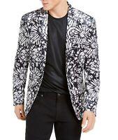 INC Mens Blazer Black Gray Medium M Velvet Slim-Fit Floral Two-Button $149 182
