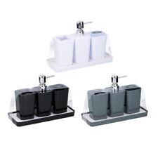 4 Piece Bathroom Accessory Soap Dish Dispenser Tumbler Toothbrush Holder